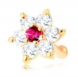 Piercing pentru nas din aur 585, drept - floare stralucitoare din rubin ?i zirconii