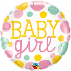 Balon Baby Shower Botez Baby Girl Dots folie metalizata 43cm foto