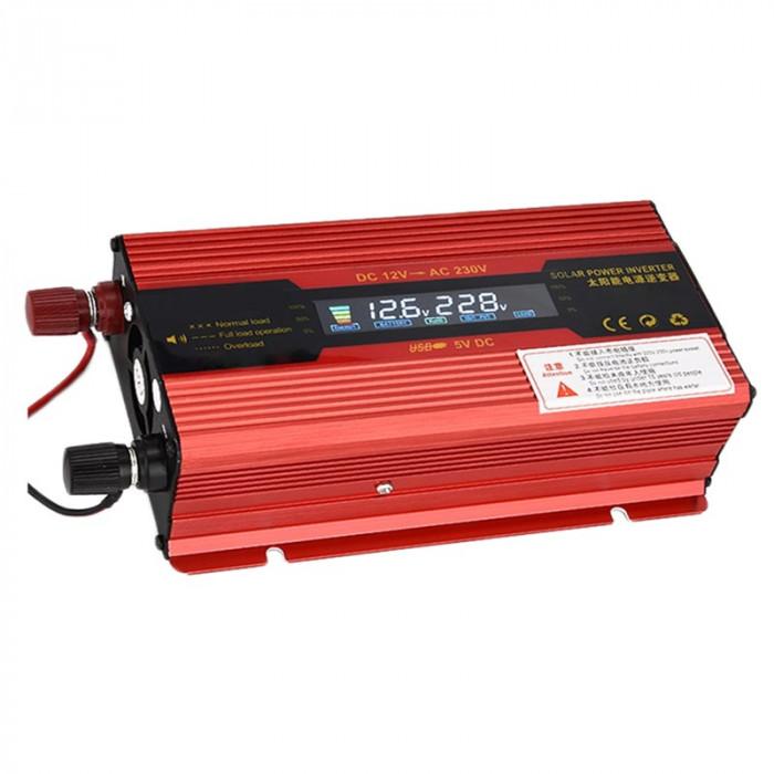 Invertor de tensiune Solar 12-230V, 1500 W, display digital