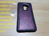Husa silicon negru  cu piele pe exterior Samsung  S9 plus si ieftin la pret