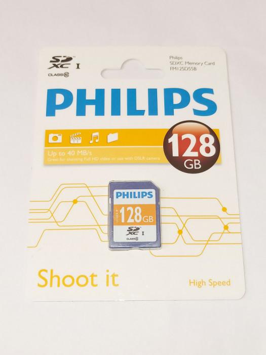 Card memorie SD XC SDXC 128 GB Clasa 10 Philips - sigilat - albastru