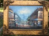 Tablou,pictura veche franceza in ulei pe panza,tehnica spaclu,Paris