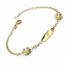 Bratara aur galben 14K, model cu placuta si floricica colorata, cod 179787