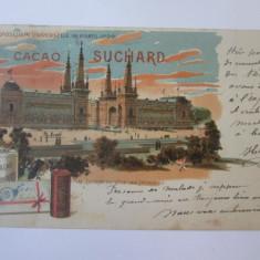 Carte postala circulata Paris-Expozitia Universala 1900,reclama cacao Suchard