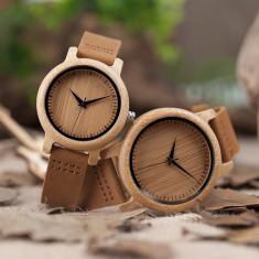 Set ceasuri din lemn Bobo Bird pentru cupluri, curea din piele Wooden Lux