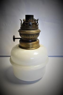 Bazin si mecanism pentru lampa cu petrol / gaz - alama si sticla opalina foto