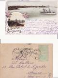 Salutari din Constanta-Portul-  litografie