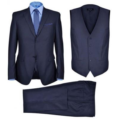 Costum business bărbați, 3 piese, bleumarin, mărime 50 foto