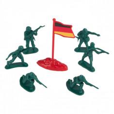 Set 40 soldatei de plastic si steag, 4 cm, verde