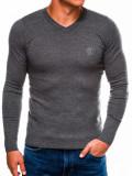 Bluza pentru barbati, din bumbac, gri deschis, casual slim fit - E74
