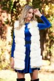 Vesta SunShine crem cu croi larg din blana ecologica cu buzunare captusita pe interior