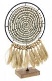 Decoratiune de masa lemn si textil Turkana 30 cm x 10 cm x 51 h, Bizzotto