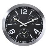 Ceas de perete din Aluminiu 45.5x5.4cm cadran Negru cu 3 ceasuri mici rama groasa argintie