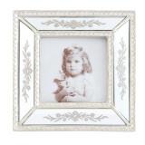 Rama foto de masa din polirasina argintie decorata cu oglinda 17 cm x 2 cm x 17 h, Clayre & Eef