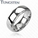 Verighetă din tungsten – centru proeminent, efect oglindă, 6 mm - Marime inel: 56