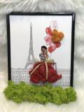 Tablou cu licheni – Love in Paris, Licheni stabilizati, rosu, 150 x 230 mm