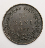 10 BANI 1867 HEATON . DETALII EXCELENTE ., Cupru (arama)
