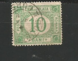 No(09) timbre- ROMANIA 1887 TAXA DE PLATA cu FILIGRAN VAL 10 BANI stampilat