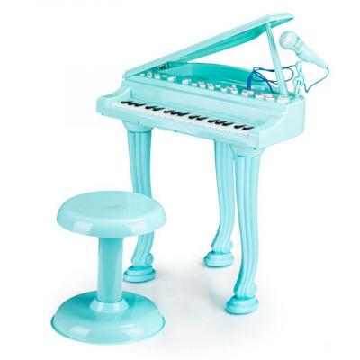 Set Pian de Jucarie pentru Copii cu Microfon de karaoke si Scaun, cablu Jack 3.5mm, albastru foto