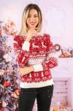 Cumpara ieftin Pulover dama de Craciun din tricot alb cu rosu cu imprimeu geometric si reni spre stanga