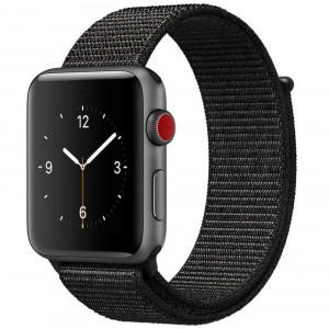 Curea pentru Apple Watch 40mm iUni Woven Strap, Nylon Sport, Dark Black