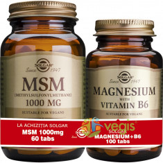 MSM 1000mg 60tb (Metilsulfonilmetan) + Magnesium cu B6 100 tablete Pachet 1+1 Cadou