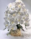 Orhidee alba din silicon pe pat de licheni stabilizati