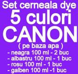 Pachet 5 culori Cerneala CANON DYE CISS PGI5 CLI8 PGI520 CLI-521 PGI525...