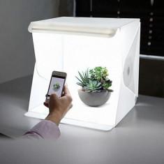 Lightbox portabil-cub foto cu led incorporat pentru poza de produs studio
