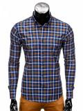 Camasa pentru barbati in carouri albastru cu galben cu guler slim fit elastica bumbac K359