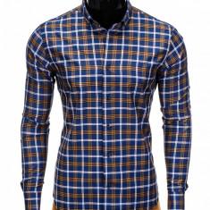 Camasa pentru barbati, in carouri, albastru cu galben, cu guler, slim fit, elastica, bumbac - K359