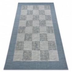 Covor sisal Fort 36217533 tablă de şah bej / albastru, 200x290 cm