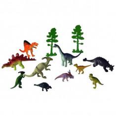 Jucarie Set specii de dinozauri mari si mici cu verdeata