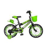Bicicleta pentru copii Rich Baby, 14 inch, frane C-Brake, roti ajutatoare cu LED, maxim 30 kg, 3-5 ani, Negru/Verde, General