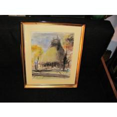 """CY Tablou """"Muzeul Satului Bucuresti"""" acuarela & penita semnat L. Vasilescu 1957"""