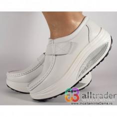 Pantofi albi piele naturala talpa convexa (cod AC019-32)