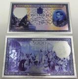 5000 lei 1931 (fara supratipar)-Bancnota polImer placata cu Argint.999‰
