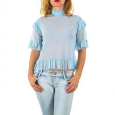 Bluza usor transparenta, de culoare albastra, cu maneci scurte, L, M, S, Albastru