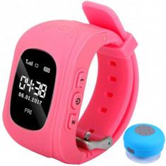 Ceas cu GPS Tracker si Telefon pentru copii iUni Kid60, BT, Apel SOS, Activity and sleep, Roz + Boxa Cadou