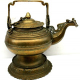 Vechi ceainic, vas din bronz masiv, anii 1800, imperiul Mogul