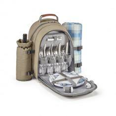 Rucsac picnic termoizolant, patura picnic inclusa, poliester 600D de densitate mare, Everestus, TL01, maro