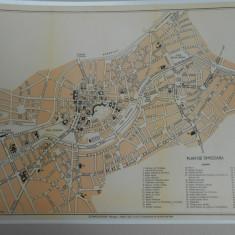 Harta Timisoara, 1920, 35x45 cm, lb. franceza, Drotleff Sibiu, superba