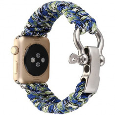 Curea pentru Apple Watch 42 mm iUni Elastic Paracord Rugged Nylon Rope, Blue and Green