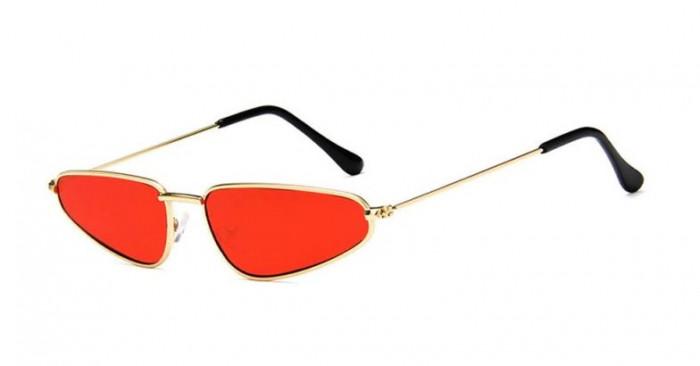 Ochelari de soare Retro cu rama aurie si lentile rosii