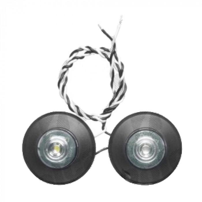 Set becuri tip led pentru lampi gabarit cu brat , diametru 60.5mm, culoare rosu si alb, 12V/ 24V Kft Auto