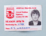 Legitimatie  Fotbal  -  ARSENAL  TRAVEL  CLUB  -  Season 1978 / 79