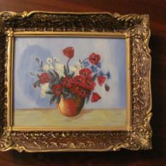 """AF - """"Vas cu Flori Rosii"""" ulei pe panza nesemnat si nedatat"""