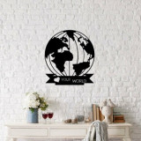 Decoratiune pentru perete, Ocean, metal 100 procente, 48 x 55 cm, 874OCN1047, Negru
