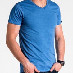 Tricou slim fit barbati S1041 albastru