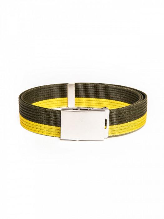 Curea pentru barbati in doua culori, lungime ajustabila, catarama din metal, verde - A062